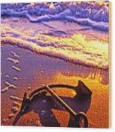 Ships Anchor On Beach Wood Print