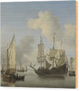 Ships At Anchor On The Coast  Willem Van De Velde II C 1660 Wood Print