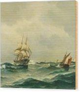 Ships At Sea Wood Print