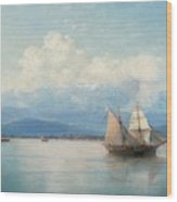 Ships Before The Caucasian Coast Wood Print