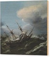 Ships In A Storm Wood Print