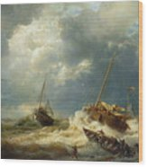 Ships In A Storm On The Dutch Coast Wood Print