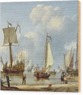 Ships In Calm Water With Figures By The Shore Wood Print