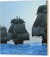 Ships In Sail Wood Print