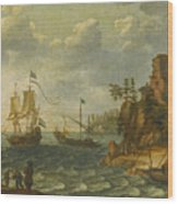 Ships Moored Off A Rocky Coastline With Fishermen Unloading Their Catch Wood Print