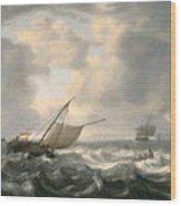 Ships On A Choppy Sea Wood Print