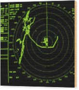 Ship's Radar Screen While In Port Wood Print