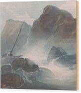 Shipwreck Off A Rocky Coast Wood Print