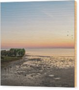 Shipwreck Sunset Panorama  Wood Print