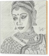 Shobana Chandrakumar-bharatanatyam Dancer Wood Print by Priya Paul