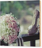 Shoes And Wedding Bouquet Wood Print