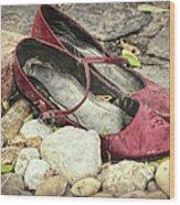 Shoes At The Makeshift Memorial Wood Print