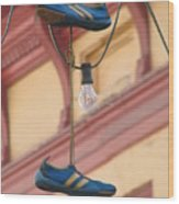 Shoes Hanging Wood Print by Jeff White