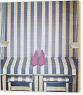 Shoes In A Beach Chair Wood Print