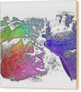 Shoot For The Sky Cool Rainbow 3 Dimensional Wood Print