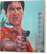 Shoot Out On Ocean Drive Wood Print