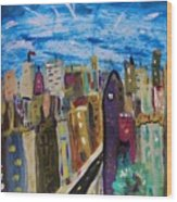 Shooting Stars Over Old City Wood Print