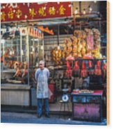 Shop Owner Standing In Front Of Poultry Shop On Temple Street Night Market Kowloon Hong Kong China Wood Print