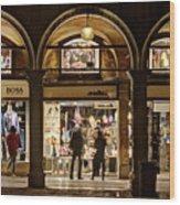 Shop Windows At Night On Piazza San Marco - Venice Wood Print