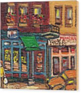 St Viateur Bagel Shop And Mehadrins Kosher Deli Best Original Montreal Jewish Landmark Painting  Wood Print