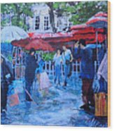 Shopping Montmartre Wood Print