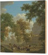 Shore, Pierre-louis Geneva 1753 - 1817 Presinge Lively And Large Trough Path At The Foot Of Cliffs Wood Print