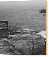 Shoreline And Shipwreck - Portland, Maine Bw Wood Print