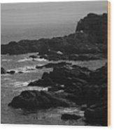 Shoreline - Portland, Maine Bw Wood Print