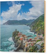 Shores Of Cinque Terre Wood Print