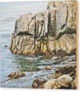 Shores Of Pebble Beach Wood Print
