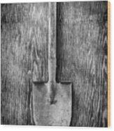Short Handled Shovel On Plywood 72 In Bw Wood Print
