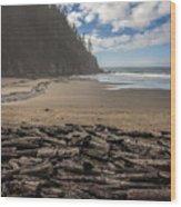 Short Sands Logs Wood Print