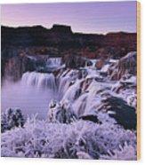 Shoshone Falls In Winter Wood Print
