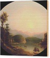 Shoshone Indians At A Mountain Lake Wood Print