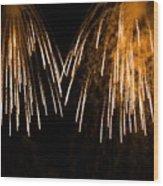 Shower Of Orange Colors Using Pyrotechnics Firework Wood Print