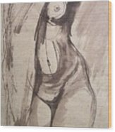 Showing Figure - Sketch Of A Female Nude Wood Print