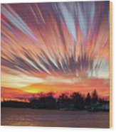 Shredded Sunset Wood Print