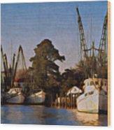 Shrimp Boat Fleet Georgetown Sc Wood Print