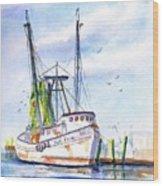 Shrimp Boat Gulf Fishing Wood Print
