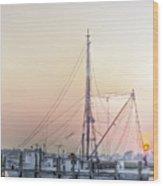 Shrimp Boat Sunset Wood Print