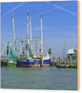 Shrimp Boats Seabrook  Wood Print by Fred Jinkins