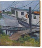Shrimpboat Docks At St. Augustine Port Wood Print