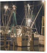 Shrimpboats And Night Wood Print