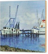 Shrimpboats At Dock Wood Print