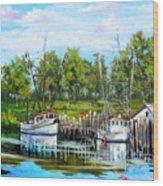 Shrimping Boats Wood Print