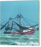 Shrimping On A Windy Day In Key West Wood Print