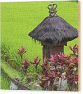 Shrine In Rice Field Wood Print