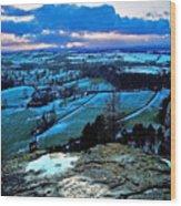 Shropshire Winter Sunset Scene Wood Print