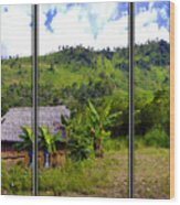 Shuar Hut In The Amazon Wood Print