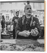 Shucking Oysters 2 - French Quarter- Bw Wood Print